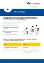 Unterweisungskarte A7: Heben und Tragen