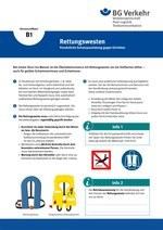 Unterweisungskarte B1: Rettungswesten (Persönliche Schutzausrüstung gegen Ertrinken)
