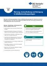 Unterweisungskarte E9: Wartung, Instandhaltung und Reinigung in Abfallbehandlungsanlagen