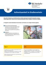 Unterweisungskarte A9: Aufmerksamkeit im Straßenverkehr