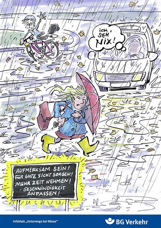 Faltblatt. Informationen zu Herbst und Winter. Unterwegs bei Nässe.