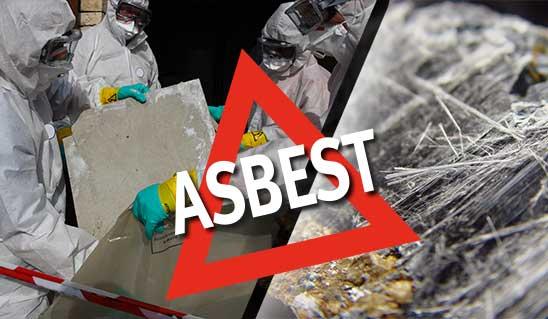 Collage aus Personen im Schutzanzug und Asbest