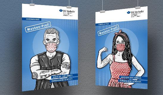 Zwei gezeichnete Plakate auf denen ein Mann und eine Frau eine Maske tragen
