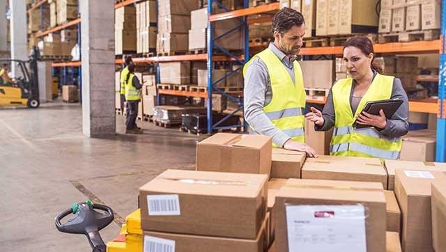 Fachkraft erklärt etwas einem Mitarbeiter im Paketdepot