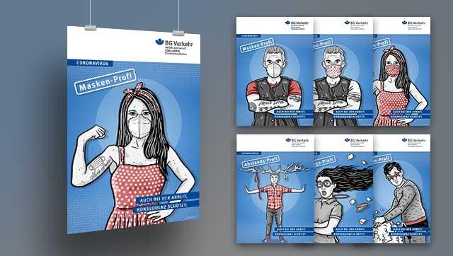 sieben Plakate mit gezeichneten Personen verdeutlichen die Schutzmaßnahmen
