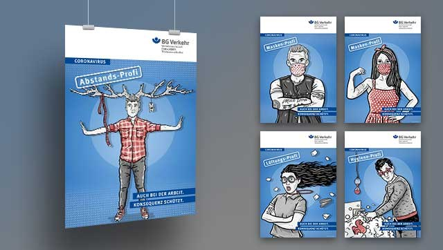 fünf Plakate mit gezeichneten Personen verdeutlichen die Schutzmaßnahmen
