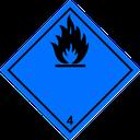 Gefahrzettel entzündbare Gase in Verbindung mit Wasser