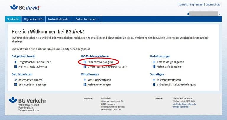 BGdirekt Lohnnachweis digital Link markiert