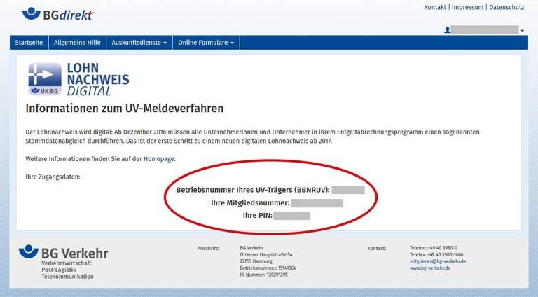 BGdirekt Zugangsdaten Lohnnachweis digital markiert