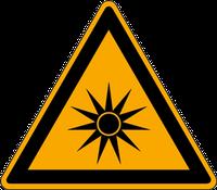 Warnschild vor optischer Strahlung